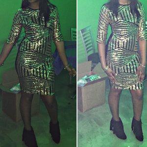 mid length Gold sequin dress